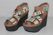 Joe's Womens 7 M Brown Multi Color Straps Open Toe Strappy Wedges Sandals Shoes