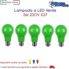 5 Pz. Lampada Led 230V 5W E27 Colore Verde ideale per giardino bar locale