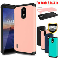 For Nokia 3.1a/3.1c Shockproof Armor Hybrid Rubber TPU Case Cover+Tempered Glass