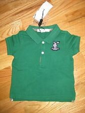 NWT BURBERRY GREEN POLO SHIRT TOP W/NOVA CHECK PLANK 6M