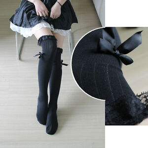 Cute Lolita Over-knee Kawaii Lace Bow Thigh High Stocking Dance Socks Cosplay