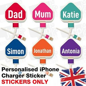 iPhone Charger Sticker Personalised USB Decal Set Plug STICKER ONLY