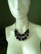 Kenneth Cole New York Black, White, & Gold Tone Bead Double Pendant Necklace