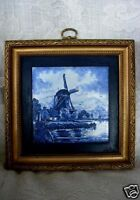 Vintage Cobalt Blue & White Framed Windmill Scenic Tile