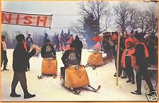 c1960 Snowmobile Racing in Adirondack Mtns NY postcard - Bombardier SKI DOGs!!