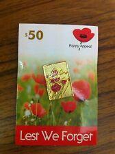 ANZAC Remembrance Poppy $50 Badge. Rennie Mackintosh Inspired.
