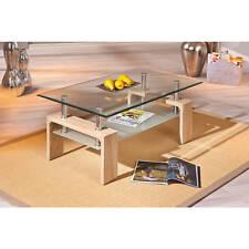 Table basse rectangulaire moderne plateau verre sablé structure decor CHÊNE