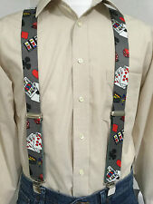 "New, Men's, Casino on Gray, XL, 1.5"", Adj. Suspenders / Braces,  Made in the USA"