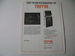 1976 Ramtek Trivia Arcade Game Original sales flyer brochure