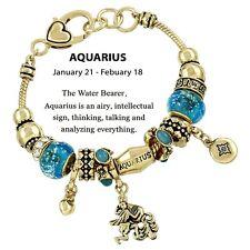Birthstone Bracelet Murano European Beads Aquarius GOLD BLUE January February