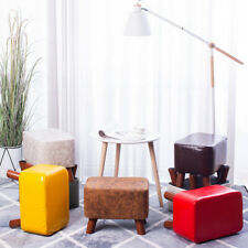 Rectangle Faux Leather Ottomans Footstools Padded Cushion Pouf Stool Wooden Legs