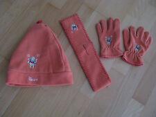 Winnie Pooh Mädchen Mütze und Schal und Handschuhe orange 4 teiliges Set