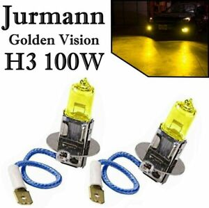 2x Jurm. H3 100W 12V Golden Vision Yellow Gelb Headlight Ersatz Lampe Off-Road