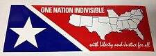 "3"" X 8"" ONE NATION INDIVISIBLE WITH LIBERTY & JUSTICE FOR ALL BUMPER STICKER NEW"