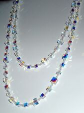 Glistening Clear AB Crystal Cube Necklace