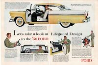 1955 2 PAGE ORIGINAL VINTAGE FORD CAR MAGAZINE AD