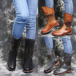 Women Mid-calf Boots Retro Block Low Heel Strappy Booties Round Toe Casual Shoes