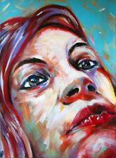 Peinture portrait La fille aux cheveux rouges 40x30 cm tableau femme art cadeau