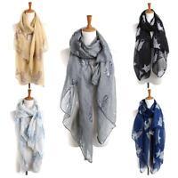 New Women Vintage Long Scarves Girls Cat Print Voile Long Scarf Warm Wrap Shawl