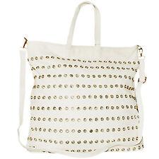 GRAND BESACE POUR FEMME sac à Bandoulière à main OPTIQUE cuir blanc avec strass