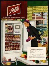 1950 Schlitz Beer - Refrigerator Full Of Schlitz Bottles - Housewife Vintage Ad