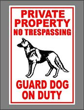 German Shepard Metal Guard Dog On Duty Sign Private Property No Trespassing New