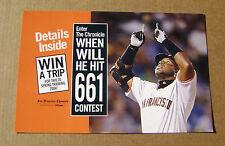 2003 Barry Bonds San Francisco Giants SF Chronicle Newspaper Rack Card 1 of 2