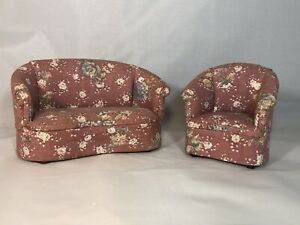 Dollhouse Miniature 1:12 Scale Bespaq Pink Floral Living Room Set Couch And Chai