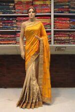 Bollywood Indian Tusser Silk Contrast Designer Saree Sari Bridal Party Dress