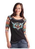 Panhandle Slim Women's Aztec Steer Skull 3/4 Sleeve Tee L9T1688 L9X1688
