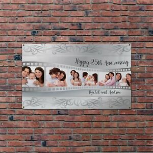 Personalised Photo Collage Happy 25th Wedding Anniversary 5x3ft Banner