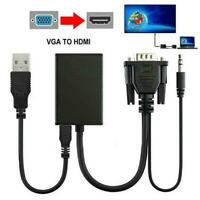 VGA Male To HDMI Output 1080P HD Audio AV HDTV Video Cable-Converter USB Adapter