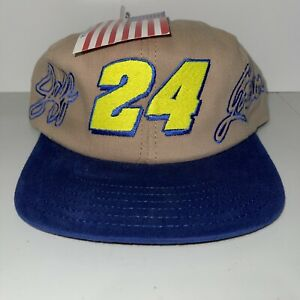 Vintage Jeff Gordon #24 - Race Hat - Cap- Tan/ Blue  New With Tag NWT