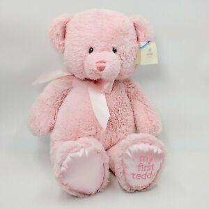 """BABY GUND STUFFED PLUSH MY FIRST TEDDY BEAR 18"""" Pink. NWT"""