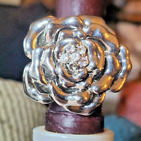 Oversized Statement Silvertone and Crystal Rose Flower Stretch Ring One Size