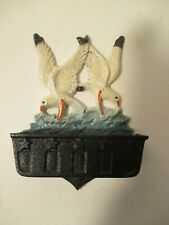 Vintage Cast Iron Seagull Ocean Decor Match Holder Wall Hanging