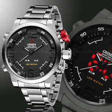 Ohsen Mens Military Year Steel Date Black Dial Digital Light Quartz Wrist Watch