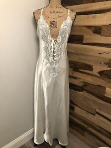 Victoria's Secret VINTAGE White LONG Slip Dress Lingerie Nightgown  Lace Size L