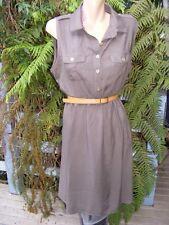 Belted KHAKI Shirt Dress Size 14 CROSSROADS NEW rrp$39.95 Work/Casual