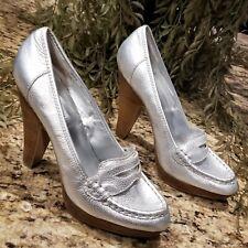 STEVE MADDEN Oldiee Silver Lame Leather Platform Penny Loafer Pumps US 9.5