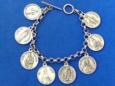 """Custom Mary Female Religious Saint Medal Charm Bracelet Lot Stainless Steel 7.5"""""""