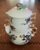 Tea Pot Cream Sugar Rooster Mid-century Stackable w/ Wales Sticker Japan 👀