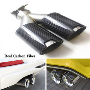 Black Glossy Car Thickened Real Carbon Fiber Exhaust Dual TWIN End Tips for BMW