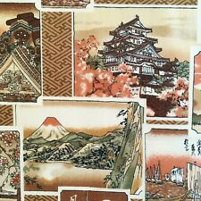 Japanese fabric, castles & Mount Fuji, vintage style oriental cotton, chinese
