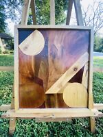 Vintage Signed Exotic Wood Inlay Abstract Geometric Wall Art Mid Century Modern