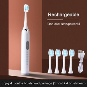 Sonic Ultrasonic Electric Toothbrush Rechargeable 5 Cleaning Mode + 4 Brush Head