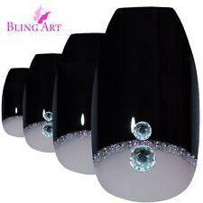 False Nails Black Crystal Polished Ballerina Coffin Bling Art Fake Tips 2g Glue