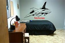 Jet and Personalized Name Wall Sticker Wall Art Decor Vinyl Decal Mural Plane