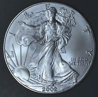 2002 1 oz AMERICAN SILVER EAGLE BRILLIANT UNCIRCULATED ASE  SKU2002B