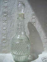 "Vintage Wine Decanter Clear Glass Bottle Liquor Rum Whiskey Bulb Top 12"" Tall"